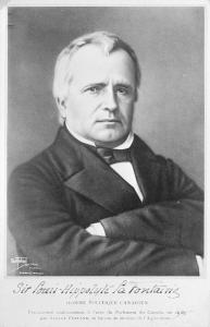 Portrait buste de Louis-Hippolyte La Fontaine en complet, bras croisés. On peut lire l'inscription « Louis-Hyppolite La Fontaine. Homme politique canadien » en-dessous.