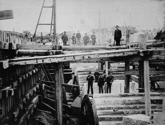 Photographie de travaux de chantier du canal de Lachine