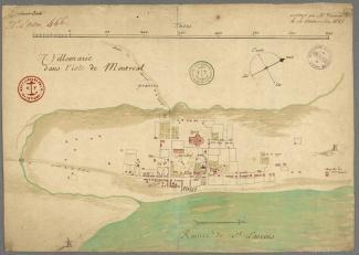 Plan coloré montrant Ville-Marie en 1685.