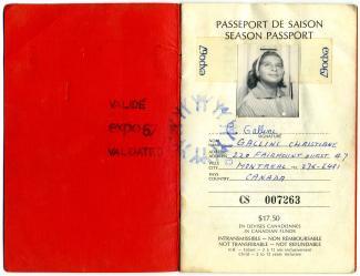 Première page d'un passeport d'Expo 67.
