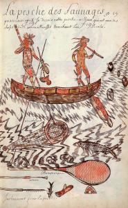 Illustration montrant des Autochtones pêchant à bord d'un canot