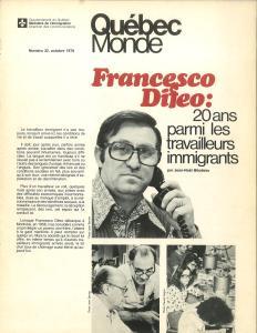 Page couverture d'une brochure du gouvernement du Québec, Québec Monde, présentant Francesco Di Feo