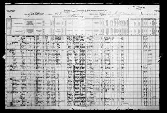 Page du recensement de 1911, avec dans  la troisième rangée les résidents de la buanderie de M. Wah, sur l'Avenue du Parc.