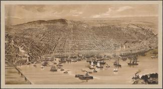 Illustration du port de Montréal avec ses bateaux et embarcations, et de l'île.