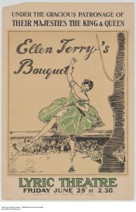 Affiche d'un spectacle mettant en scène Ellen Terry au Lyric Theatre de Londres au milieu des années 1910.