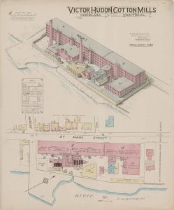 Plan d'assurance couleur montrant les bâtiments de la filature Hudon.