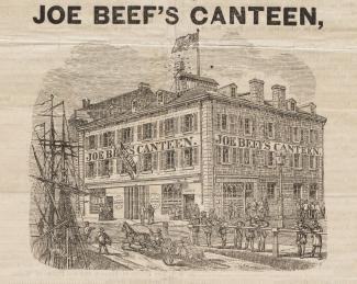 Illustration de la façade de la taverne indiquant «JOE BEEF'S CANTEEN», devant laquelle on aperçoit une embarcation et des passants.