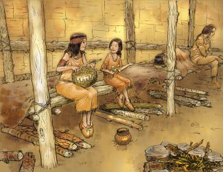 Illustration montrant une scène d'intérieure dans une maison longue. Une mère et sa fille sont assises et discutent. À côté, une femme est couchée et une autre est assise.