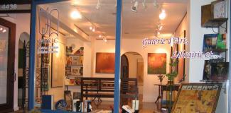 Façade de la Galerie d'Art et Librairie Mekic. Par la fenêtre, on voit des œuvres accrochées au mur.