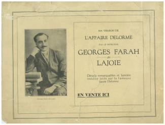 Affiche publicitaire annonçant la parution de Ma version de l'affaire Delorme de Georges Farah-Lajoie.