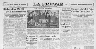 Reproduction d'une demie page du journal La Presse.