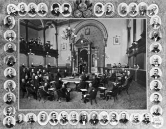 Photographie composite des membres du conseil municipal et leur portrait.