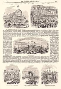 Page de journal avec texte et illustrations racontant la venue du prince de Galles à Montréal.