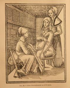 Gravure tirée d'un livre ancien et montrant une scène d'accouchement