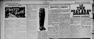 Une page du journal La Patrie annonçant la présence d'un sarcophage à l'École des beaux-arts