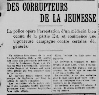 Article en une du journal La Patrie s'intitulant Des corrupteurs de la jeunesse