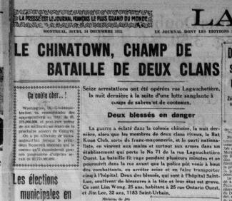 Coupure du journal La Presse intitulée « Le Chinatown : champ de bataille de deux clans »