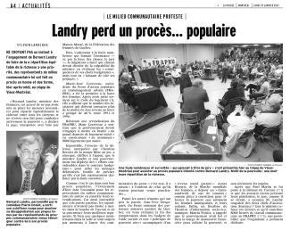 Article du journal La Presse du 29 janvier 2001 s'intitulant «Landry perd un procès... populaire»