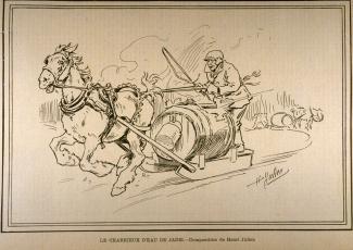 Illustration d'un porteur d'eau au tournant des XIXe et XXe siècles.
