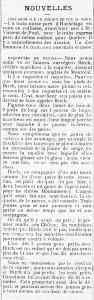 Article du journal Le Courrier du Canada en 1879 portant le titre Raquette et patins
