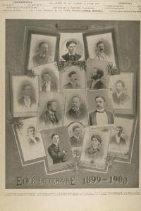 L'École littéraire de Montréal 1899-1900 en une du journal Le monde illustré. Le portrait de Nelligan apparaît en bas au centre droit de la page.