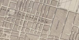 On peut apercevoir la rue des Allemands (German Street) sur cette carte de Montréal en 1843.