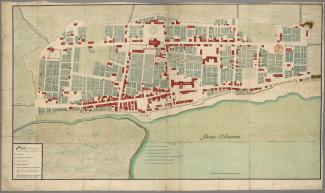 Plan de Montréal, une ville commerciale d'environ 1200 personnes, en 1704.