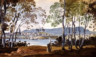 Illustration de l'île de Montréal depuis l'Île Sainte-Hélène.