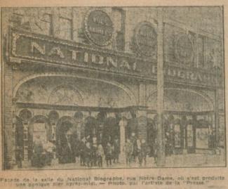 Façade du National Biograph en 1910.