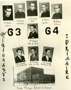 Extrait de l'album des finissants de 1963-1964 avec une photo de l'école, les photos des quatre étudiants du conseil et les photos des cinq religieux à la direction de l'école.