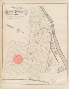 Plan avec couleurs montrant le village de Côte-Saint-Paul en 1879