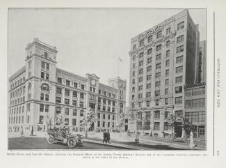 Édifices du Grand Tronc et du Canadian Express sur la place D'Youville en 1915
