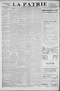 Première page du journal La Patrie annonçant le décès de Sœur Thérèse, 23 novembre 1891.