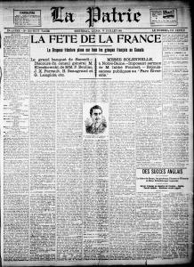Page couverture du journal La Patrie annonçant la Fête de la France