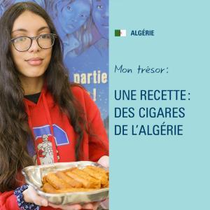Une élève tient un plat.