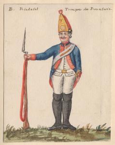 Aquarelle montrant un soldat dans un uniforme bleu, blanc et rouge tenant un fusil.