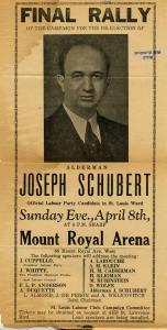 Affiche électorale invitant les électeurs à réélire Joseph Schubert dans la circonscription de Saint-Louis en 1954.