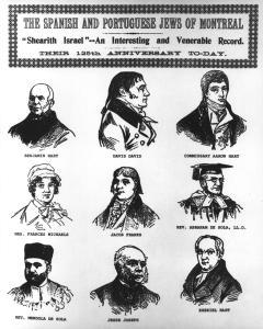Portraits individuels de huit hommes et d'une femme membres de la synagogue Shearith Israel.