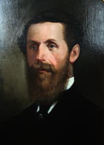 Peinture d'un homme portant une barbe.