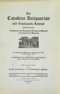 Première page de couverture d'une édition de 1931 du périodique The Canadian Antiquarian and Numismatic Journal.