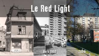 Montage photographique montrant le quartier avant les démolitions, puis une fois les Habitations Jeanne-Mance construites, à deux époques différentes.