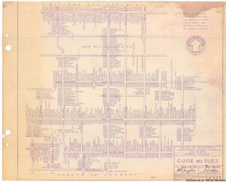 Plan quadrillé des principales rues de Montréal avec les numéros d'immeuble indiqués entre chaque intersection.