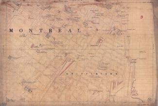 Ce plan colorié au pinceau présente de façon très détaillée Griffintown et son système d'aqueduc.