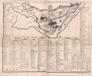 Copie d'un plan de 1702 qui présente l'ensemble de l'île de Montréal, avec les terres concédées pour les différents secteurs habités.