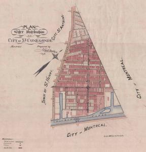 Plan coloré de la cité de Sainte-Cunégonde en 1890