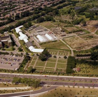 Photographie couleur du jardin botanique et de ses jardins à vol d'oiseau, vu du sud.