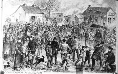 Photographie d'une gravure montrant la grève des ouvriers du canal Lachine.
