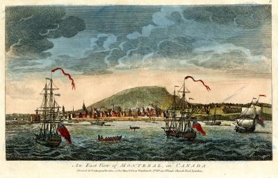 Gravure montrant une vue sur Montréal à partir du fleuve avec navires à l'avant-plan et la montagne à l'arrière-plan
