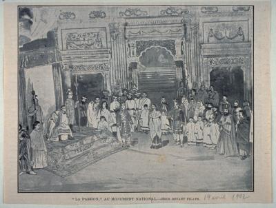 Scène du drame biblique La Passion de Philippe Casimir et Comer présenté sur la scène du Monument National en 1902.
