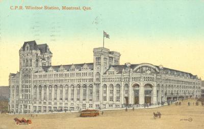 Carte postale montrant la gare Windsor avant 1914.